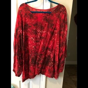 Tianello Red Rayon Floral Tunic Sz 1X